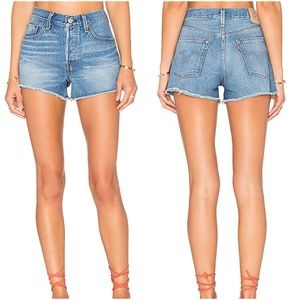 Levi's 501 Cutoff Jean Shorts Blue Denim High Rise